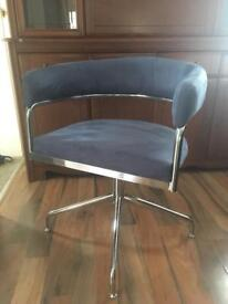 Contemporary suede swivel chair