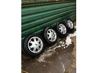 "FORD FIESTA MK5 ALLOY WHEELS AND TYRES 14"" ONLY £60 FOR THE SET"
