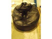 Large Black Faux Leather Beanbag