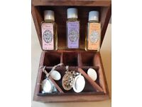 VINTAGE BOXED HALLMARKED NECKLACE&LOCKET INCLUDES AROMATHERAPY OILS