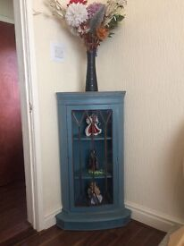Up cycled Mahogany corner unit, painted in cottage blue antique themed Led inlay glass front