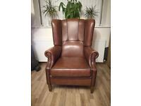 Brown leather wing back arm chair Armchair hard wood legs