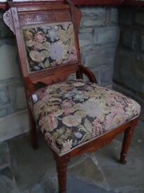 VINTAGE / COLLECTABLE HARDWOOD TAPESTRY CHAIR WITH FRONT CASTORS ONLY £20 FOR QUICK SALE