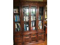 Old Charm Dark solid Oak cabinet/shelves/bookcase/display unit with leaded doors.