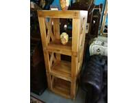 Stained Monkey Wood Standing Shelf