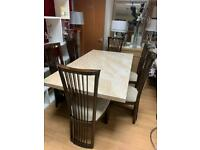 6ft marble effect dining table and chairs
