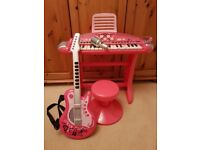 ELC Guitar and keyboard with stool in pink