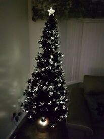 Black 6ft fibre optic christmas tree