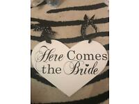 Here Comes the Bride- wooden sign