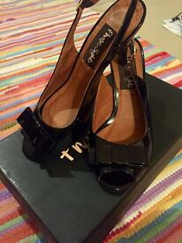 Phase Eight Leather patent black heels size 5