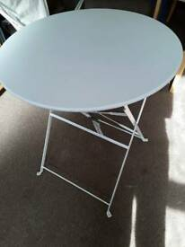 New with tags white fold up metal bistro table