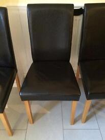 4 dark brown leather dining chairs