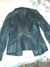 Black leather womens roomy size 10 jacket