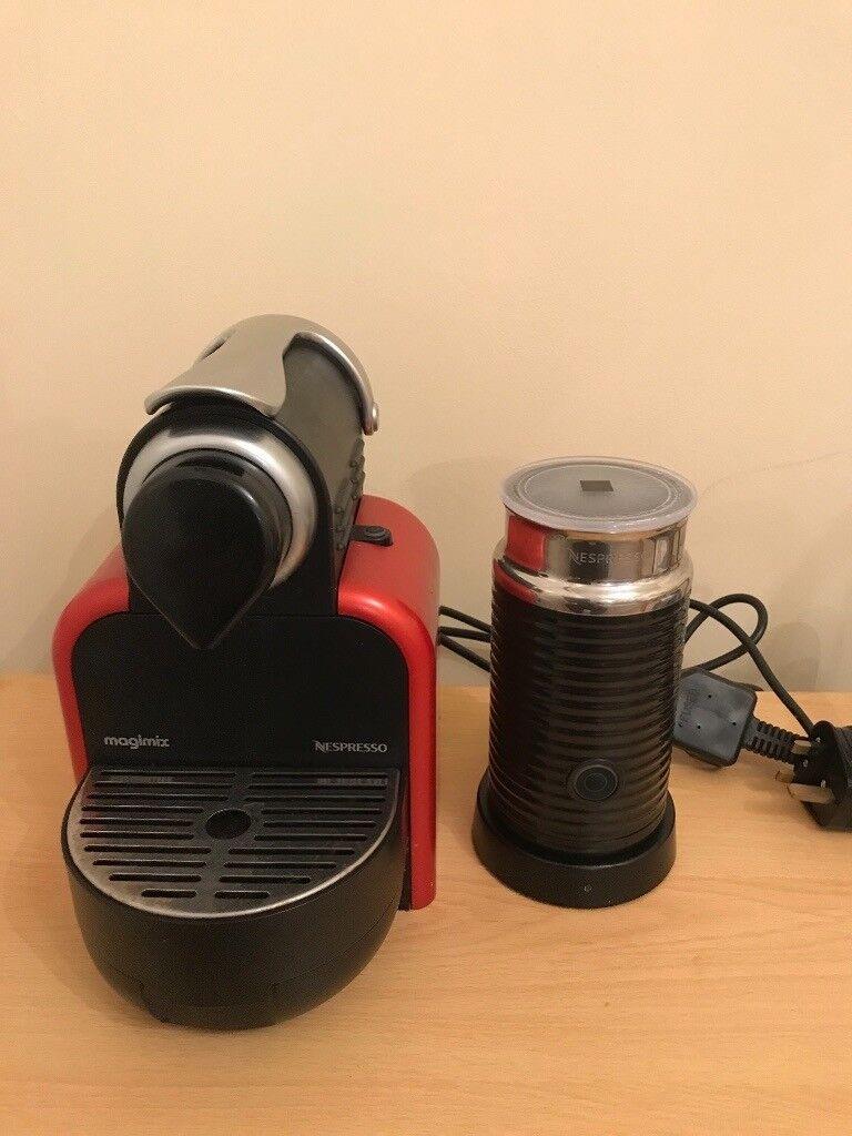 Nespresso Magimix M100 Red Coffee Machine With Aeroccino Milk