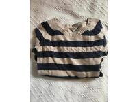 Fat face cream and navy striped jumper