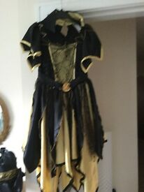 Girls age 8-10 witches dress, hat and broomstick
