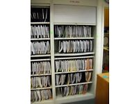 Lockable Steel Tambour Cupboards with Adjustable Shelving and Pull Out Desk