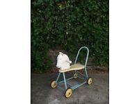 Vintage tubular steel children's ride on push along horse baby walker on wheels
