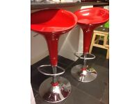 Pair of red kitchen bar stools