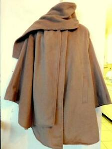 ANGORA WOOL CAPE / ATTACHED SCARF / M /CLOAK PONCHO / CAMEL BROWN / FITS S M L
