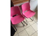 Pink plastic chairs from Ikea x2