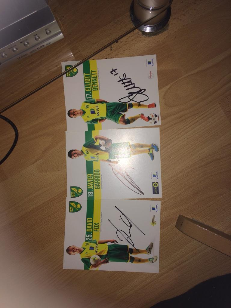 Signed Norwich city cards