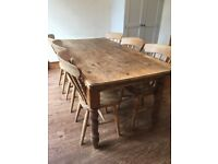 Solid pine farmhouse table with 6 chairs