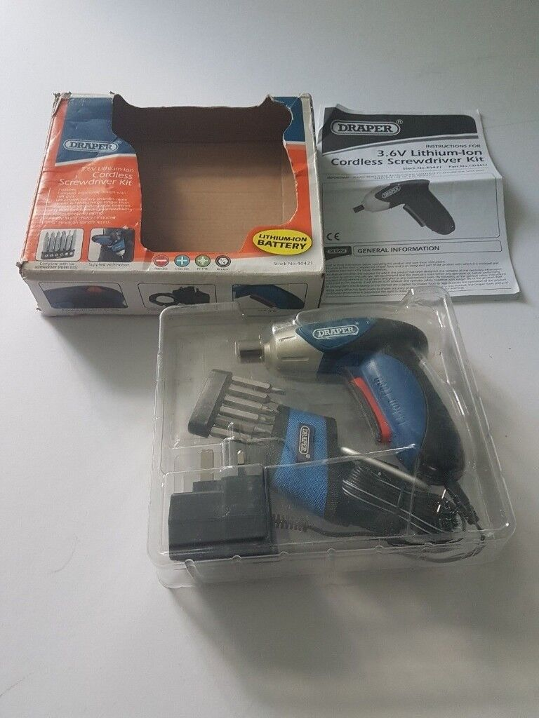 BRAND NEW DRAPER 3.6V LI-ION CORDLESS SCREWDRIVER WITH ACCESSORIES 40421