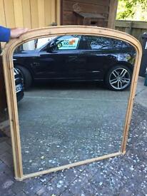 Antique Pine Overmantel Mirror
