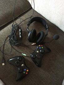 Xbox 360 with Kinect + 2 controllers, Turtle Beach headset and 18 games.