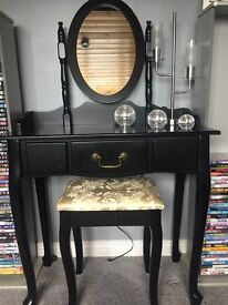 Black dressing table stool and nirror