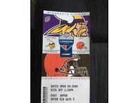 2 x NFL Twickenham Tickets Minnesota Vikings vs Cleveland Browns