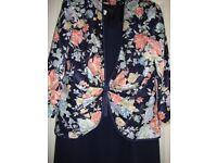 Condici Dress/Jacket Navy Sweetheart Neckline Dress. Jacket Spring Col Roses