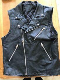 Mans leather sleeveless biker jacket