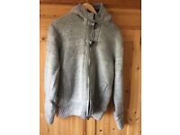 Men's fabric fur-lined grey hoody. Size large