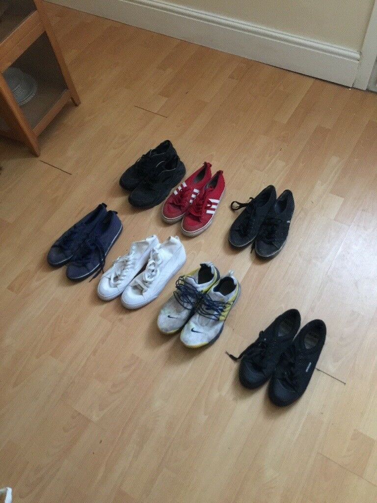 7 pairs. Size 11. Various condition all wearable. Nike. Adidas. Hurrache. Presto