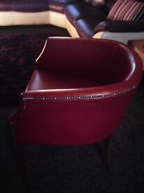 Red leather bucket style chair