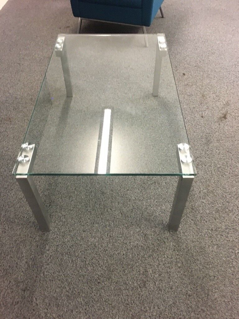 Glass Coffee Table With Brushed Steel Legs In Leeds City