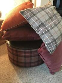 Footstool and 6 cushions all from Next