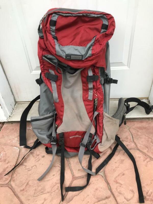 REI RIDGELINE  65 Liter Backpack  Mens L  Roomy  Red & Grey  Hiking  ~EUC