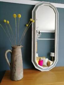 Narrow mirror hand-painted in Annie Sloan Duck egg blue and Original