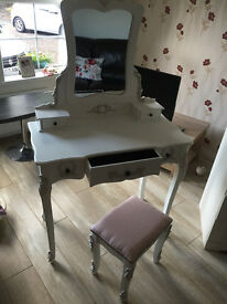 Dressing table with stool, chest of drawers and wardrobe