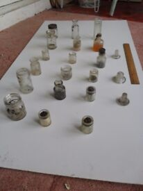 Collection of 18 x Small Glass Jars & Bottles, plus 3 x glass stoppers.