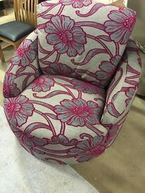 Hot pink and Grey Cloth Swivel Chair
