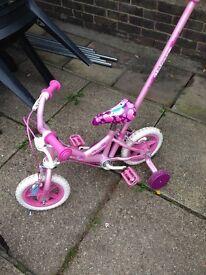 Girls unicorn bike with parent handle