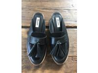 Dune London Gee backless leather loafers