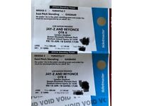 2 tickets East Wing Beyonce Jay Z OTR II FACE VALUE Standing London 15th
