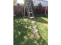 Vintage solid wooden 7 step stepladders shabby chic project