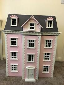 Stunning large 4 storey pink wooden dolls house with family of dolls toy collectible
