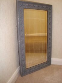 Shabby Chic Vintage wooden framed bevelled mirror painted in Grey